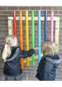 outdoor rainbow xylophone, would be cool mounted on fence.