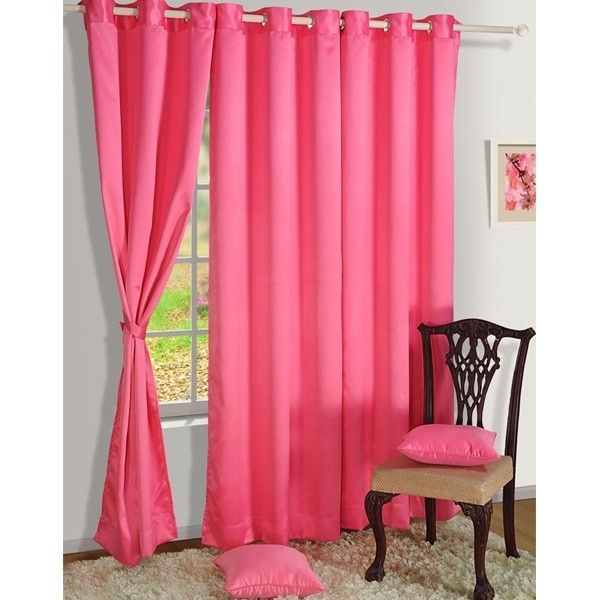 Hot Pink Premium Blackout Satin Curtains With Eyelets