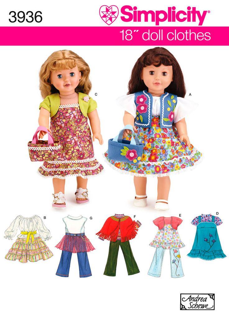 ... 18 Inch Dolls, Simplicity Patterns, Dolls Patterns, Dolls Clothing