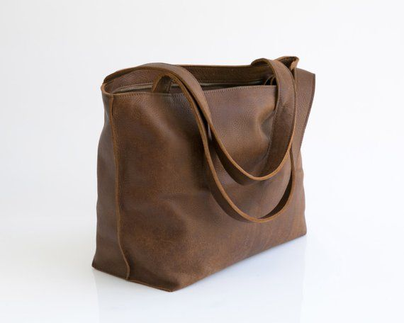 Leather Handbag Soft Leather Tote Bag With Zipper Leather Etsy Brown Leather Purses Leather Tote Bag Women Soft Leather Tote