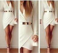 Envío gratis Color blanco moda mujeres del vendaje de Bodycon de manga larga Mini vestido de partido atractivo sin la pretina