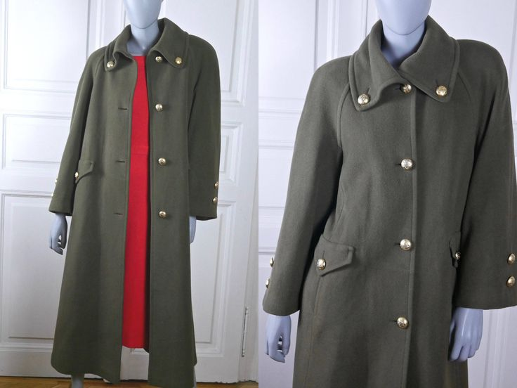 Austrian Vintage Women's Wool Coat, Olive Green Long Warm Winter Coat w Gold Buttons, Army Green Coat w Padded Shoulders: Size 10 US, 14 UK by YouLookAmazing on Etsy