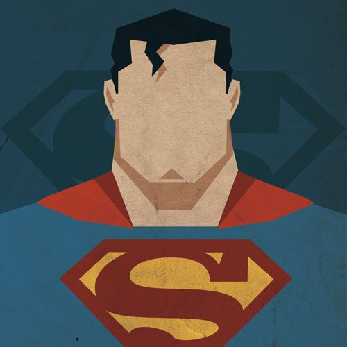 """Superman: Nice simple illustration of Kal-El by artist Michael Myers.  Notice the face widens toward the jaw line with a large square jaw. This is a signature look, however DC recently has strayed away, giving Superman's face slighter, more angular, """"cuter"""" Superboy features.:"""