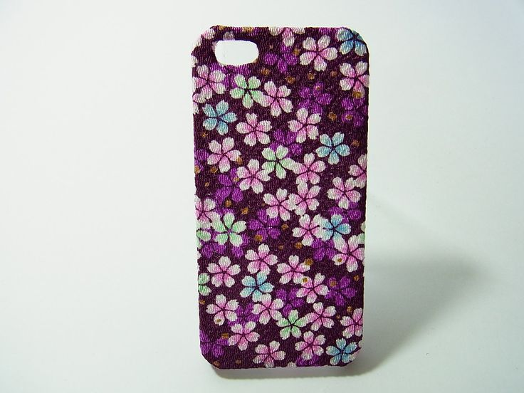 Japanese Kimono fabric Chirimen iphone case(Purple cherry blossom) by chirimenbunny on Etsy