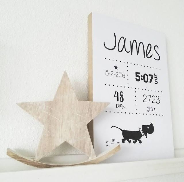 bijdeb: Gepersonaliseerde geboorte bord cadeautje..