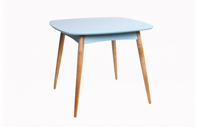 Tavolo da pranzo quadrato 90x90cm Piedi in frassino ripiano color blu chiaro - BALTIK - Zoom