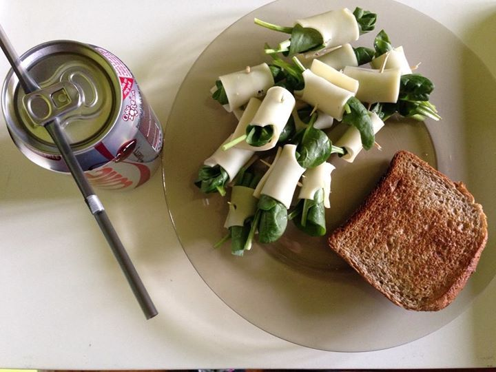 Scarsdale diet, day 5: Cheese and spinach rolls, whole grain bread and a diet cherry coke.