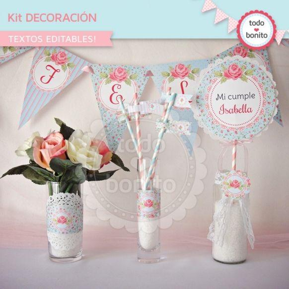 Shabby Chic aqua+rosa: decoración de fiesta