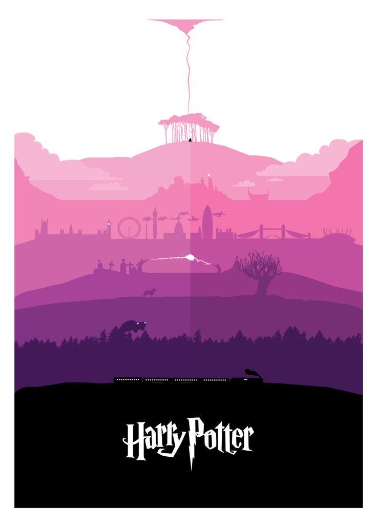 "petterscholander: "" All seven Harry Potter stories - in one poster. Full Portfolio: www.petterscholander.com """