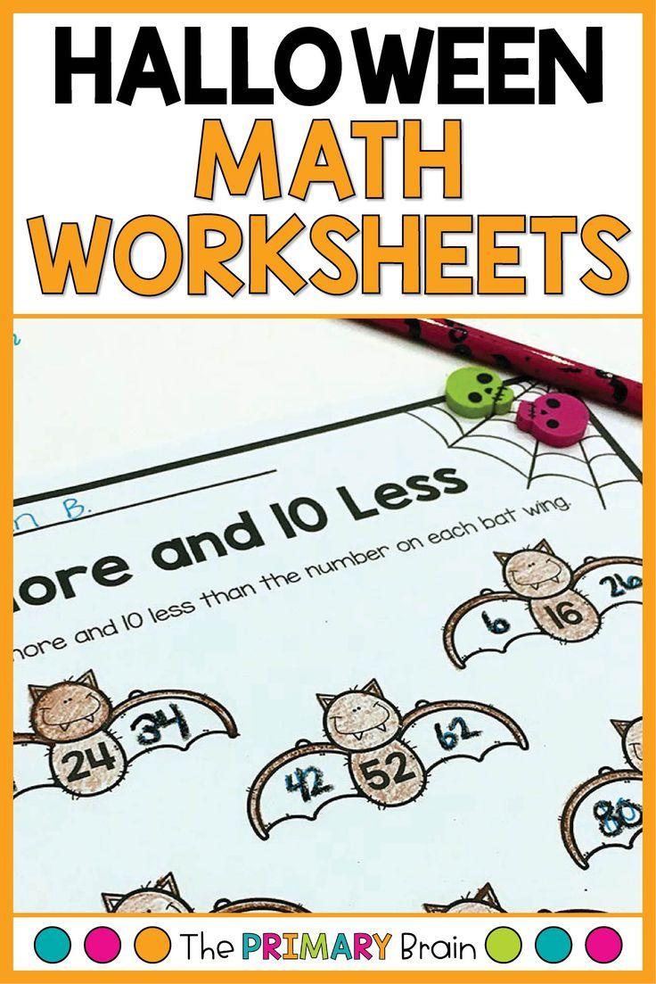 Halloween No Prep Math Activites First Grade Math Worksheets Halloween Math Halloween Math Worksheets [ 1103 x 736 Pixel ]