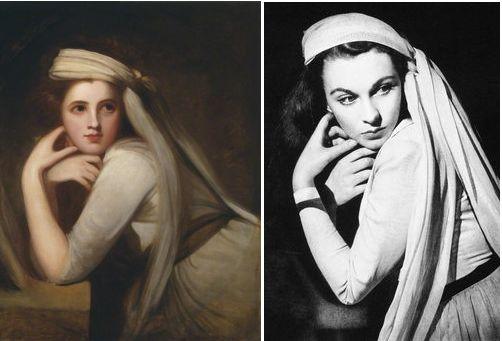 """A la izquierda, retrato de Emma por George Romney (circa 1785) actualmente en el National Portrait Gallery de Londres.  A la derecha Vivien Leigh en una imagen promocional de la película """"That Hamiltom Woman"""" (1941) con vestuario de René Hubert."""