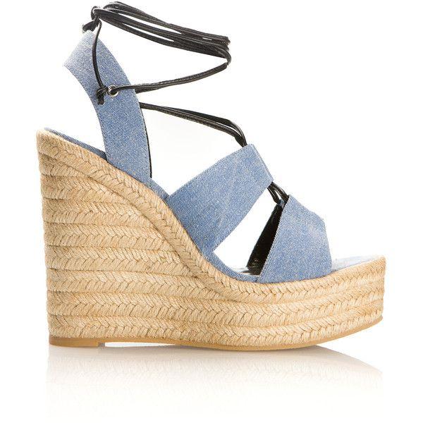 Saint Laurent Blue Denim Espadrilles Wedges Sandals (£425) ❤ liked on Polyvore featuring shoes, sandals, high heel sandals, platform espadrille sandals, denim sandals, wedge heel sandals and wedge espadrilles