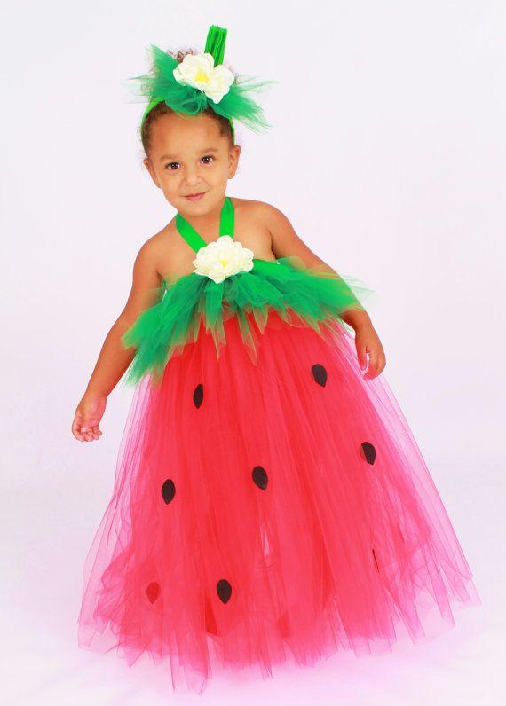 Abito tutù - compleanno fragola o Halloween Costume - rosso & verde - bacca bellezza - 5-6 giovani ragazza