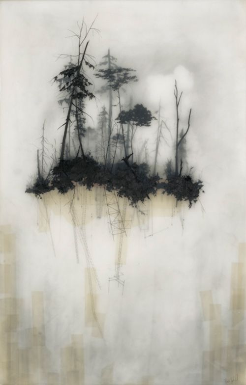 Brooks Salzwedel ~ Reflections, 2010. Mixed Media. Delicate use of layers to create depth and shadow. Complex and strong.