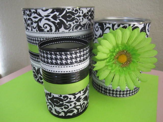 Set of 3 Damask Print Decorative Cans by partiesgalore on Etsy