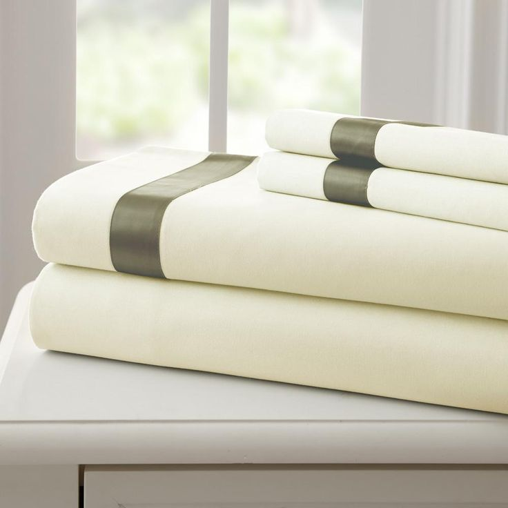 Fine Linen 100% Cotton 4 Piece Sheet Set with Satin Band - Linen/Taupe