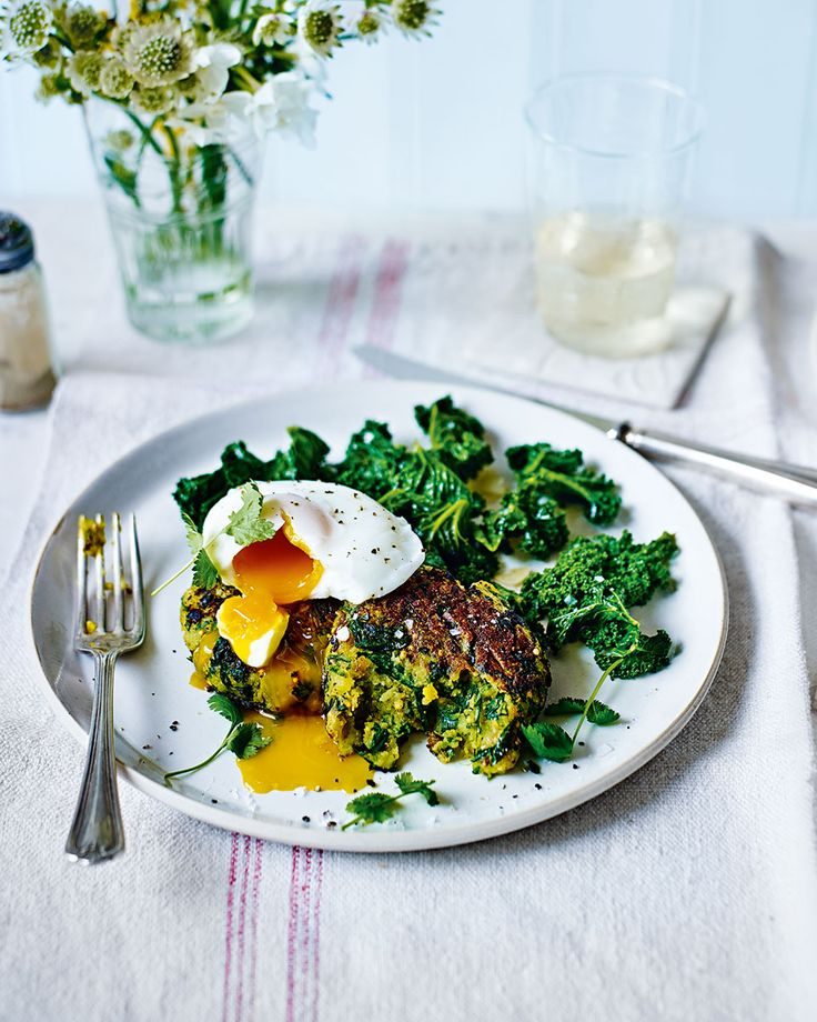 Indian-spiced spinach and potato cakes topped with a runny poached egg make a wonderful meat-free lunch or light supper.