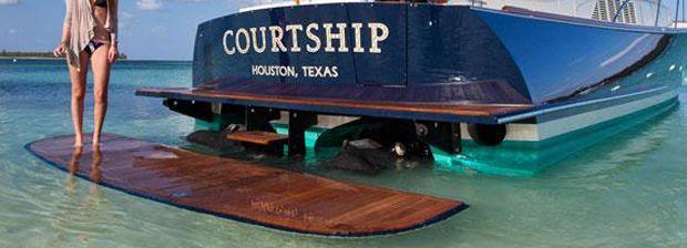 SeaLift's Swim Platform extends the back of a large boat ...