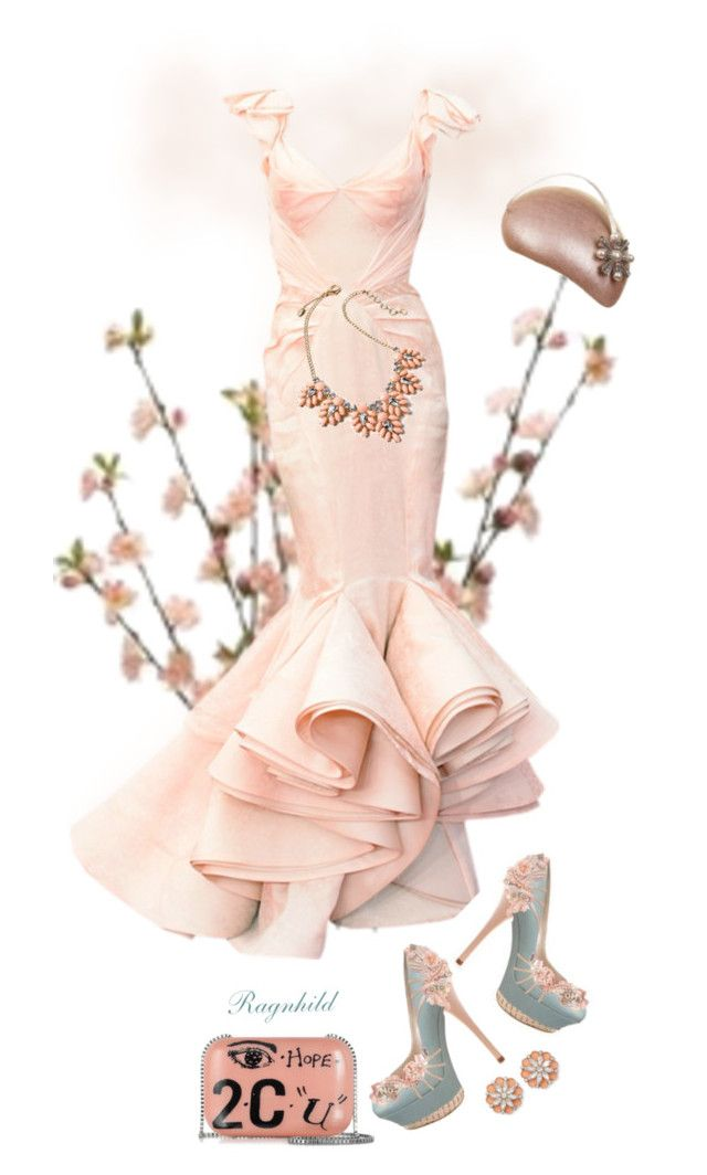 """Peach Gown"" by ragnh-mjos ❤ liked on Polyvore featuring Zac Posen, Carven, BillyTheTree and Amrita Singh"