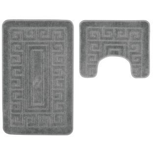buy striped bath and pedestal mat set grey at. Black Bedroom Furniture Sets. Home Design Ideas