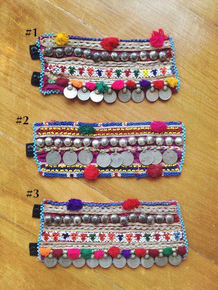 Pali pom pom Bracelet Afghani fabric coin & stud bracelet
