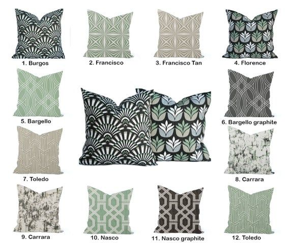 this listing is for one throw pillow cover printed on 100 cotton all of these fabrics look great t green pillows decorative green pillows green throw pillows