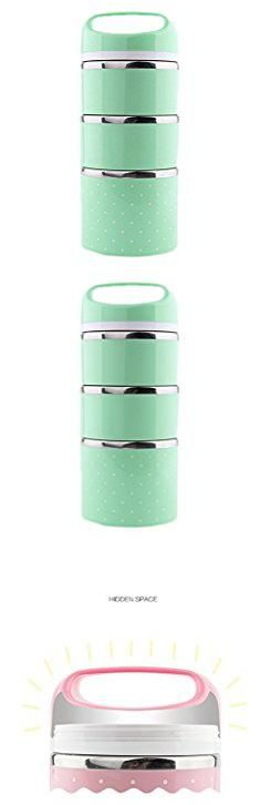 Stackable Lunch Containers. Ospard Stainless Steel Insulated Lunch Box 43 Ounces Green SH-24.  #stackable #lunch #containers #stackablelunch #lunchcontainers