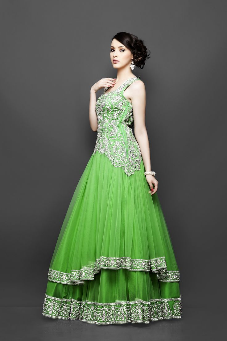 Princess Style Royal Green Gown