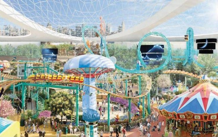 """""""Though centered around a mall, the proposed American Dream Miami would also have a Ferris wheel, roller coaster, and 500-foot-tall observation tower. Most of it would be enclosed by a dome shown here in the artist's rendering of the theme park. Proposed for Northwest Miami-Dade County, the project comes from the developer behind Minnesota's Mall of America."""""""