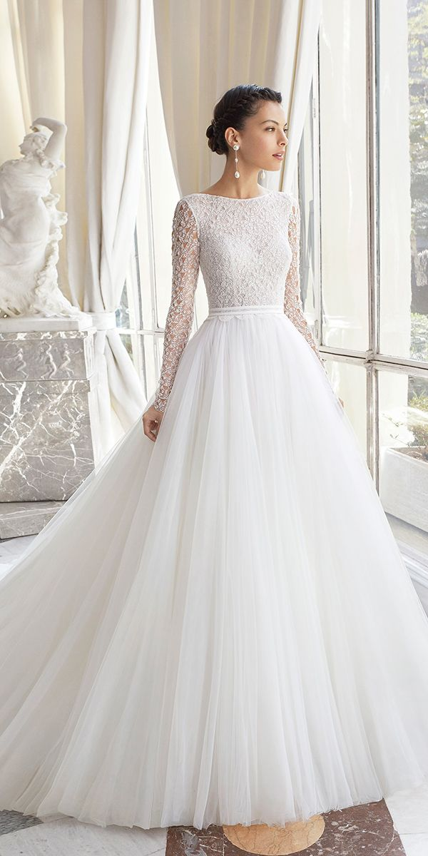 0a9c8f7b0e fantasy wedding dresses ball gown with illusion long sleeves lace top rosa  clara