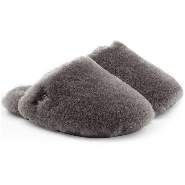 UGG Australia Fluff Clog Sheepskin Slippers ($125) ❤ liked on Polyvore featuring shoes, slippers and grey
