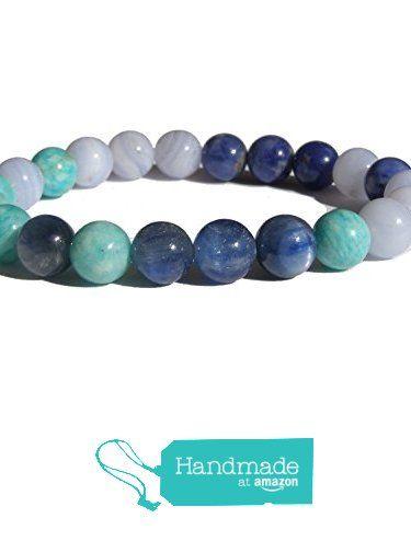 "ZENstore Throat Chakra Healing Bracelet Natural Gemstones size 0.3"" 8mm Chalcedony Amazonite Sodalite Disthen Blue Kyanite Communication Self-expression Creativity from ZENstore https://www.amazon.com/dp/B072K27FLV/ref=hnd_sw_r_pi_dp_VbrozbNH8GCAA #handmadeatamazon  #Zenstore #chakra #gemstone #jewellery #fashion"