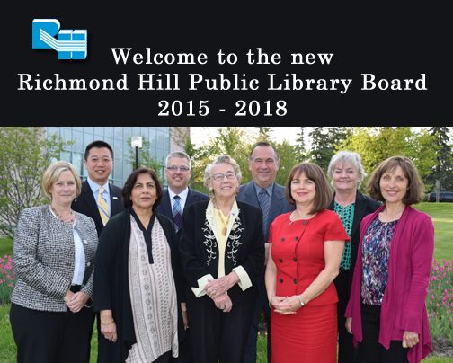 They've already been hard at work and now it's time to introduce the Richmond Hill Public Library Board. Welcome to David Bishop, Chair, Martin Zegray, Vice-chair (not in picture), Regional & Local Councillor Brenda Hogg, Councillor Greg Beros, Councillor Castro Liu, Adam Grachnik, Shelagh Harris, Gwen Johnstone, Margaret Roberts and Nighat A. Sukhera. In the lovely red dress is our CEO Louise Procter Maio.