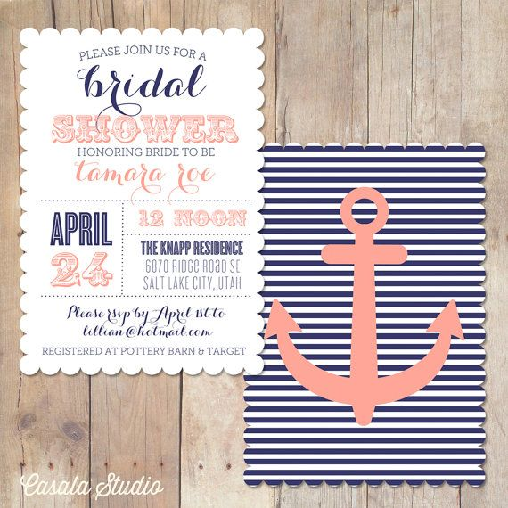 361 best nautical wedding inspiration images on pinterest beach vintage nautical scalloped bridal shower invitation printable invite or printed card on etsy 1600 solutioingenieria Images