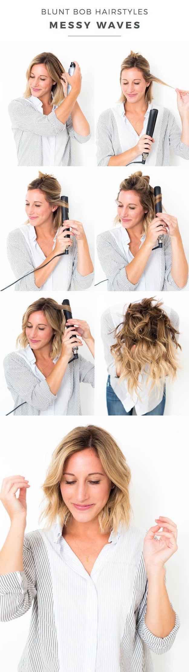 41 Lob Haircut Ideas For Women - BLUNT BOB HAIRSTYLES: MESSY WAVES -What is a lob? Step by step easy tutorials on how to cut your hair for a lob haircut and amazing ideas for layered, and straight lobs. Ideas for lobs with bangs, thick hair, wavy and thin hair. For long hair and medium hair. For round faces and sharp features - thegoddess.com/lob-haircut-ideas-women #HairstylesForWomenWithRoundFaces