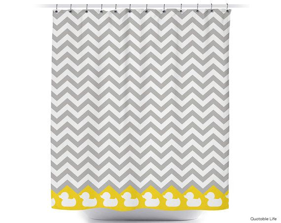 This is the shower curtain we have coming. The gray is the lighter one for the stripes, but the ducks are in yellow. Rubber Ducky Chevron // Choose Your Colors // Custom Shower Curtain, $60.00