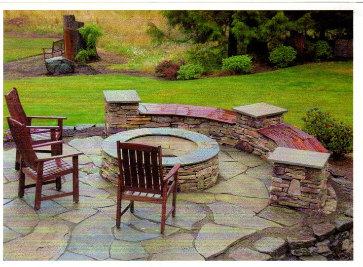 A Nice Outdoor Fire Pit With Built In Seating.Patio Stone