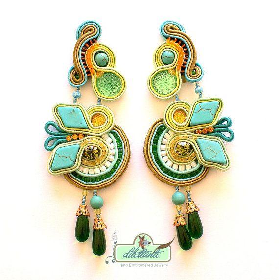 Turquoise Soutache Earrings Swarovski by DILETTANTEsoutache