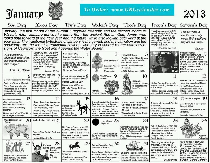 Pagan calendar January 2013   January ~ Winter   Pinterest   Pagan and ...
