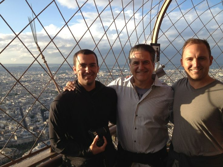 Steve Mariucci on top of the Eiffel Tower with his sons Tyler Mariucci and Stephen Mariucci . (July 12, 2012)