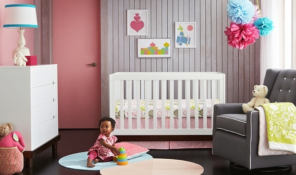 For the modern mommy (and baby!) - love this nursery room style