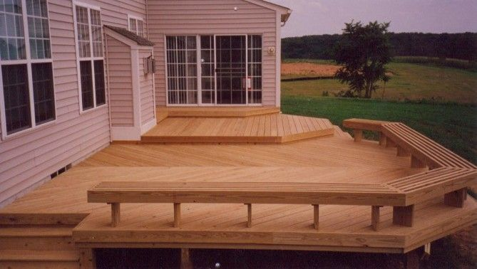 wooden deck with seating