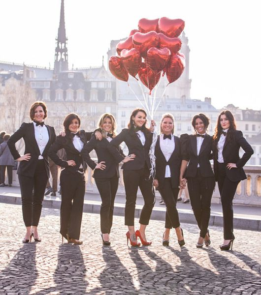 This has to be my fave hen party! Martine McCutcheon, Paris, Tuxedos and balloons! #HenDoo xoxo