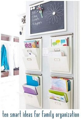ten smart ideas for family organization Bigger pic: http://pinterest.com/pin/137852438565441292/ Also: 50 insanely clever organizing ideas: http://diyhshp.blogspot.com/2013/08/50-insanely-clever-organizing-ideas.html ... Also: http://www.pinterest.com/pin/55380270393462464/ and 20 command centers: https://www.pinterest.com/pin/202380576980891762/ and https://www.pinterest.com/pin/202380576980636744/ and https://www.pinterest.com/pin/280489883019017028/