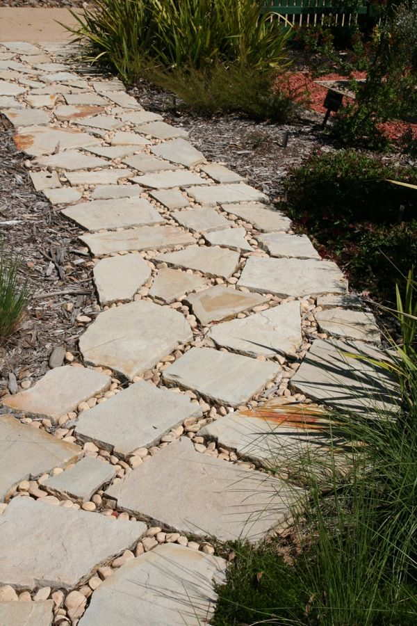 stone path with gravel infill garden