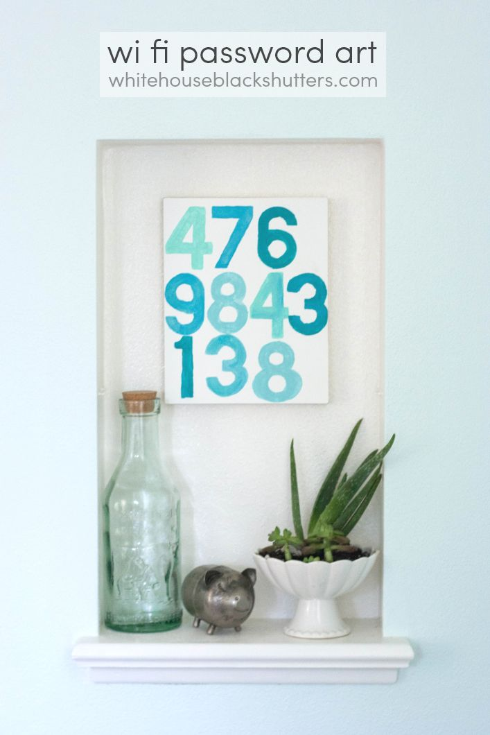 WiFi Password Art from whitehouseblackshutters.com - this is such a great idea for guests- display in your home and stop searching for that paper you wrote your password down on!