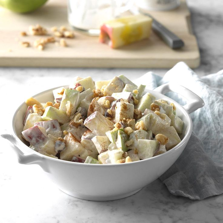 Crunchy Apple Side Salad Recipe -With fiber-rich fruit, light dressing and crunchy walnuts, this is a great snack. Try it with low-fat granola. —Kathy Armstrong, Post Falls, Idaho