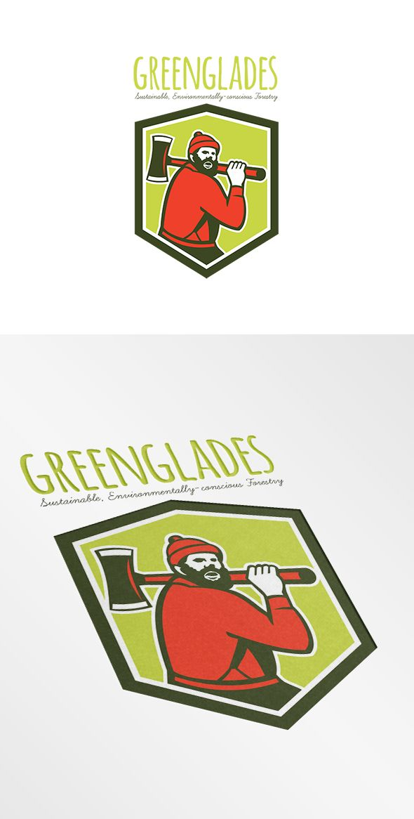 Green Glades Sustainable Forestry Logo. Logo showing illustration of Paul Bunyan a lumberjack sawyer forest worker carrying an axe set inside shield crest shape done in retro style on