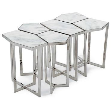 Puzzle Coffee Table Set with Nickel Finish and White Top 6 Piece Set