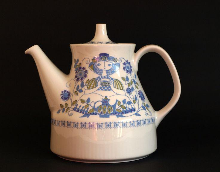 Figgjo Lotte Scandinavian Tea Pot or Coffee Pot - Turi Design Teapot - Made in Norway - Folk Art - 70s Retro by FunkyKoala on Etsy